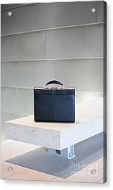 Black Briefcase On White Stone Bench Acrylic Print by Jetta Productions, Inc