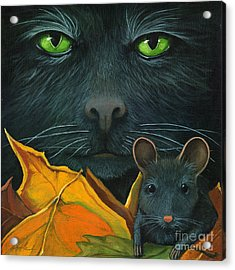 Black Cat And Mouse Acrylic Print by Linda Apple