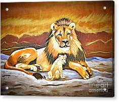 Black Maned Lion And Cub Acrylic Print by Phyllis Kaltenbach