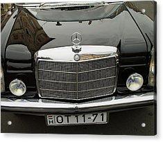 Black Mercedes Logo Acrylic Print by Odon Czintos