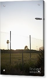 Blimp Flying Over Sports Field Acrylic Print by Sam Bloomberg-rissman