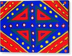 Blue And Red Ornamental Pastel Diamond Pattern Acrylic Print by Kazuya Akimoto