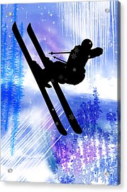 Blue And White Splashes With Ski Jump Acrylic Print by Elaine Plesser
