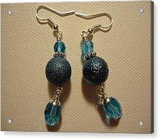 Blue Ball Sparkle Earrings Acrylic Print by Jenna Green