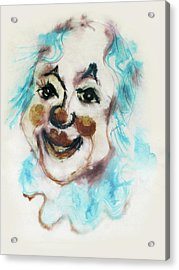 Blue Collar Clown Face With Red Nose And Lips Raised Eyebrows Smile   Acrylic Print by Rachel Hershkovitz