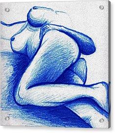 Blue Female Nude Acrylic Print by A Karron
