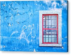 Blue Wall And Window With Red Frame Acrylic Print by Silvia Ganora