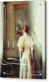 Blurry Image Of A Woman In Vintage Dress  Acrylic Print by Sandra Cunningham