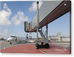 Boarding Bridge Leading To A Parked Plane Acrylic Print by Jaak Nilson