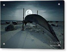 Boat And Moon Acrylic Print by MotHaiBaPhoto Prints