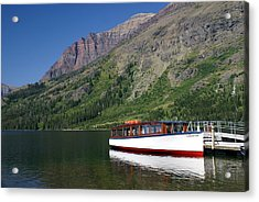 Boat On Two Medicine Acrylic Print by Marty Koch