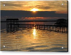 Boathouses At Sunset Acrylic Print by Tiffney Heaning