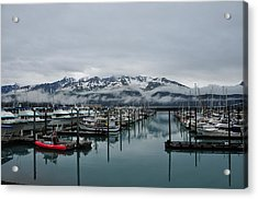 Boats In Marina With Snow Capped Acrylic Print by Jorge Fajl