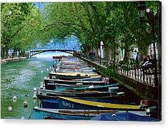 Boats On Canal Du Vasse, Annecy, Rhone-alpes, France, Europe Acrylic Print by John Elk III