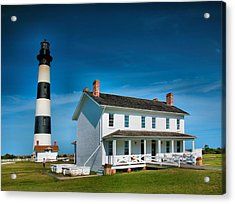 Bodie Island Lighthouse And Keepers Quarters Acrylic Print by Steven Ainsworth