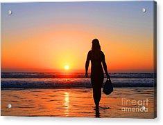 Bodysurfer At Dusk Acrylic Print by Sabino Cruz