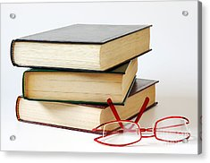 Books And Glasses Acrylic Print by Carlos Caetano