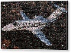 Bottle Cap Cessna Citation Mosaic Acrylic Print by Paul Van Scott