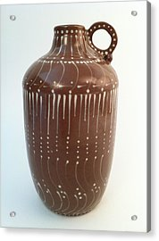Bottle Of Deep Red Clay With White Slip Decoration And A Handle Acrylic Print by Carolyn Coffey Wallace