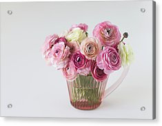 Bouquet Of  Pink Ranunculus Acrylic Print by Elin Enger