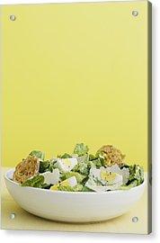 Bowl Of Caesar Salad With Egg Acrylic Print by Cultura/BRETT STEVENS