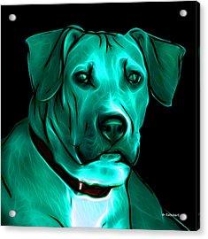 Boxer Pitbull Mix Pop Art - Cyan Acrylic Print by James Ahn