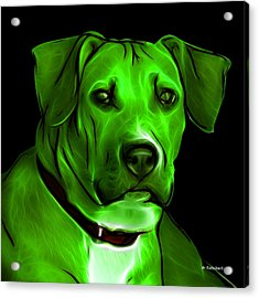Boxer Pitbull Mix Pop Art - Green Acrylic Print by James Ahn
