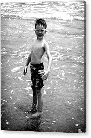 Boy At The Ocean 2 Acrylic Print by Kelly Hazel