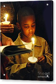 Boy By Candlelight Acrylic Print by Jim Wright