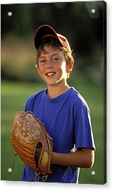 Boy With Baseball Glove Acrylic Print by John Sylvester