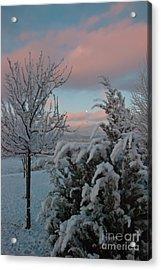 Boyd Lake Winter Moonset Acrylic Print by Harry Strharsky