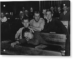 Boys And Teenagers Attend Night School Acrylic Print by Everett