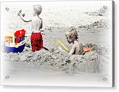Boys Will Be Boys At The Beach Nj Acrylic Print by Gwenn Dunlap