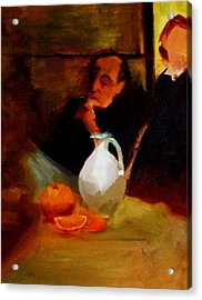 Breaktime With Oranges And Milk Jug Man Deep In Philosophical Thought With Mysterious Boy Servant Acrylic Print by M Zimmerman MendyZ
