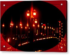 Bridge Of Lions Alit Acrylic Print by DigiArt Diaries by Vicky B Fuller