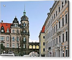 Bridge Over Taschenberg Street Dresden Acrylic Print by Christine Till