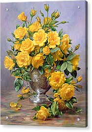 Bright Smile - Roses In A Silver Vase Acrylic Print by Albert Williams