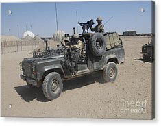 British Soldiers In Their Land Rover Acrylic Print by Andrew Chittock
