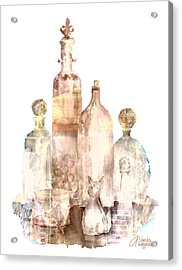 Bronzed Bottles Acrylic Print by Arline Wagner
