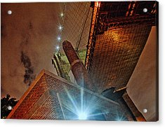 Brooklyn Bridge At Night Acrylic Print by Alex AG