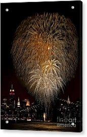 Brooklyn Bridge Celebrates Acrylic Print by Susan Candelario