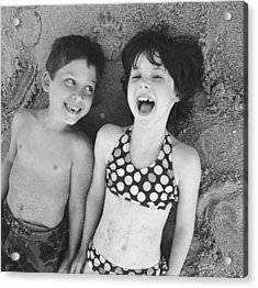 Brother And Sister On Beach Acrylic Print by Michelle Quance