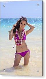 Brunette Model On Beach Acrylic Print by Tomas del Amo