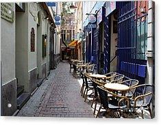Brussels Side Street Cafe Acrylic Print by Carol Groenen