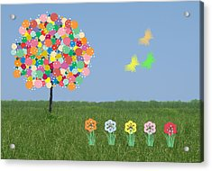 Bubblegum Tree Acrylic Print by Rosalie Scanlon