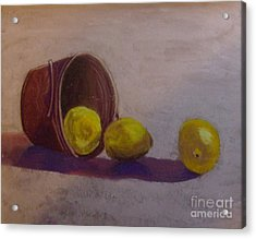 Bucket Of Lemons Acrylic Print by Calliope Thomas