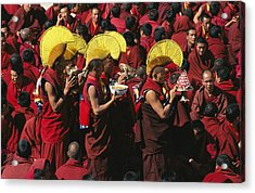 Buddist Monks At Nechung Monastery Acrylic Print by Maria Stenzel