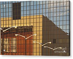 Building Reflected In Glass Building Windows Acrylic Print by Thom Gourley/Flatbread Images, LLC