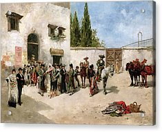 Bullfighters Preparing For The Fight  Acrylic Print by Vicente de Parades