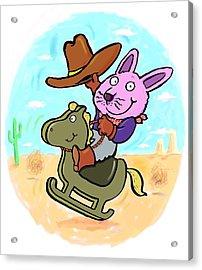 Bunny Cowboy Acrylic Print by Scott Nelson